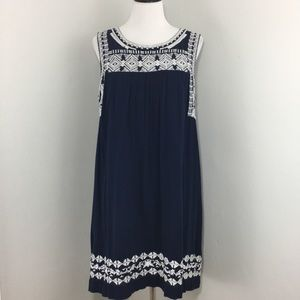 LUCKY BRAND Embroidered Cotton Boho Dress